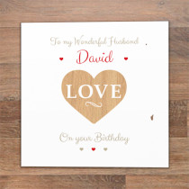 Personalised Wood Effect Love Heart Luxury Fabric Photo Card
