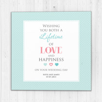 Personalised Lifetime Of Love And Happiness Luxury Fabric Card