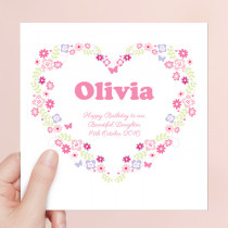 Personalised Floral Heart Luxury Fabric Card