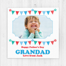 Personalised Blue And Red Bunting Luxury Fabric Photo Card