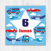 Personalised Kids Transport Big Age Luxury Fabric Card
