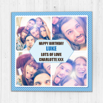 Personalised Blue Border Four Photo Card - Luxury Fabric Card