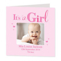It's a Girl with Photo Upload - Luxury Greeting Card