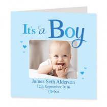 It's a Boy with Photo Upload - Luxury Greeting Card