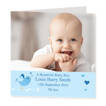 Baby Boy Singing Bird with Photo Upload - Luxury Greeting Card