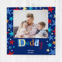 Personalised Grunge Star Daddy Luxury Fabric Photo Card