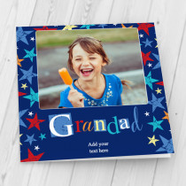 Personalised Grunge Star Grandad Luxury Fabric Photo Card