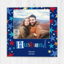 Personalised Grunge Star Husband Luxury Fabric Photo Card