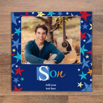 Personalised Grunge Star Son Luxury Fabric Photo Card