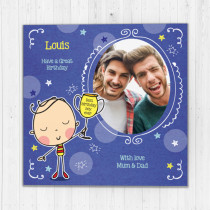 Personalised World's Greatest Trophy Photo Card - Luxury Fabric Card