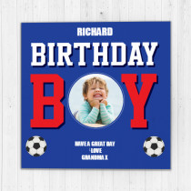 Personalised Football Birthday Boy Luxury Fabric Photo Card
