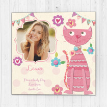 Personalised Fabrique Cute Cat Luxury Fabric Photo Card