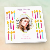 Personalised Bright Candles - Luxury Fabric Photo Card