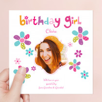Personalised Bright Birthday Girl - Luxury Fabric Photo Card