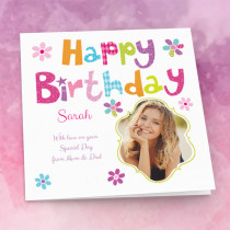 Personalised Bright Happy Birthday - Luxury Fabric Photo Card