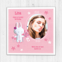 Personalised Cute Bunny - Luxury Fabric Photo Card