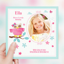 Personalised Oh Sew Cute Owl Luxury Fabric Photo Card