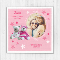 Personalised Cute Teddies - Luxury Fabric Photo Card