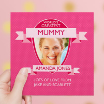 Personalised World's Greatest Pink Luxury Fabric Photo Card