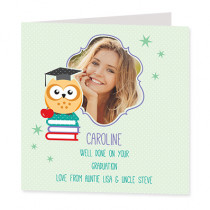 Book Owl with Photo Upload - Luxury Greeting Card