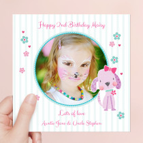 Personalised Cute Puppy Luxury Fabric Photo Card