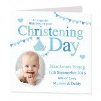 Christening Day Boy with Photo Upload - Luxury Greeting Card