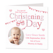 Christening Day Girl with Photo Upload - Luxury Greeting Card
