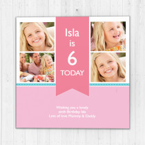 Personalised Pink Ribbon Big Age Luxury Fabric Photo Card