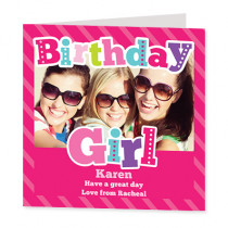 Bright Birthday Girl with Photo Upload - Luxury Greeting Card