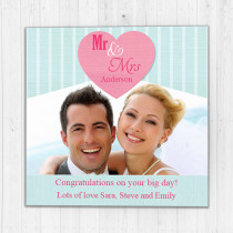 Personalised Mr And Mrs Heart Luxury Fabric Photo Card
