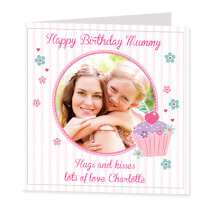 Cherry Cupcake with Photo Upload - Luxury Greeting Card
