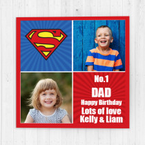 Personalised Superman Luxury Fabric Photo Card