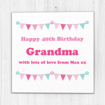 Personalised Pastel Bunting Luxury Fabric Card