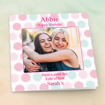 Personalised Pastel Polka Dots - Luxury Fabric Photo Card