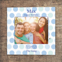 Personalised Blue Polka Dots Photo Card - Luxury Fabric Card