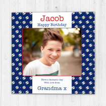 Personalised Football Pattern Luxury Fabric Photo Card