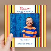 Personalised Stripes Luxury Fabric Photo Card