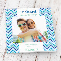 Personalised Blue Zig Zags Photo Card - Luxury Fabric Card