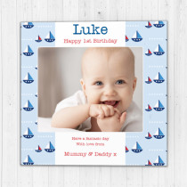 Personalised Baby Blue Boats Luxury Fabric Photo Card