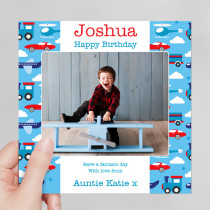 Personalised Kids Transport Luxury Fabric Photo Card
