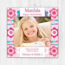Personalised Bright Flower Pattern Luxury Fabric Photo Card