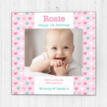 Personalised Pastel Hearts Luxuruy Fabric Photo Card