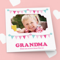 Personalised Pastel Bunting Luxury Fabric Photo Card