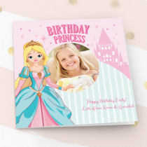Personalised Birthday Princess Luxury Fabric Photo Card