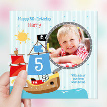 Personalised Pirate Ship Luxury Fabric Photo Card