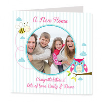 Owl and Bee with Photo Upload - Luxury Greeting Card