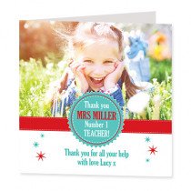 Teacher Rosette with Photo Upload - Luxury Greeting Card