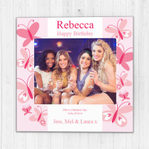 Personalised Pink Butterfly - Luxury Fabric Photo Card