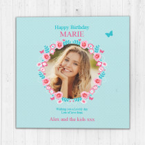 Personalised Pretty Floral - Luxury Fabric Photo Card