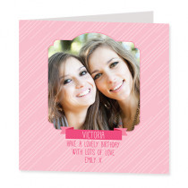 Pink Pinstripes with Photo Upload - Luxury Greeting Card
